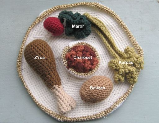 passover seder plate knitted