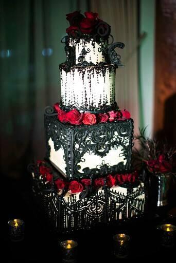 Black Goth Birthday Cake